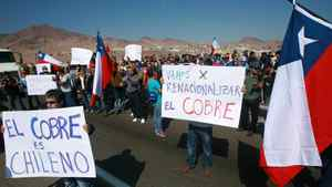 Miners protest as they hold a strike in Antofagasta, some 1000 Km north of Santiago, on July 25, 2011. Miners at the world's largest copper mine Escondida, have asked the government to mediate as a strike largely over bonus pay went into its fourth day on Monday.