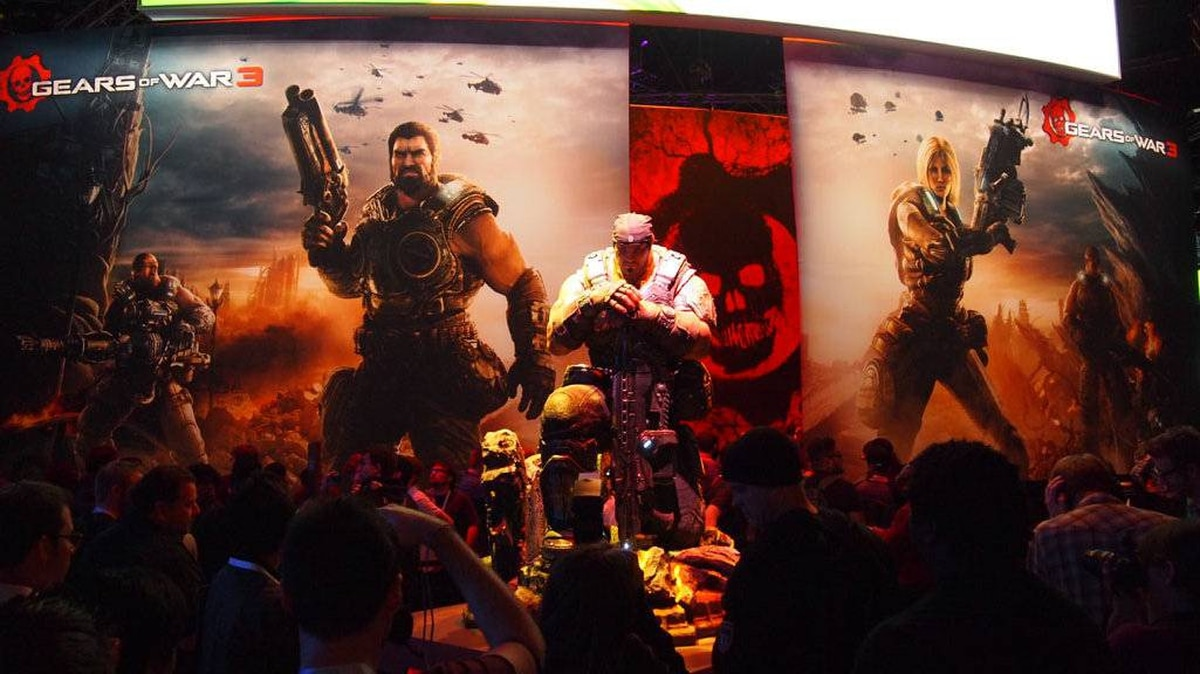 A statue of Marcus Fenix adorns the entrance to the Gears of War 3 pavilion at E3 in Los Angeles, June 08, 2011.