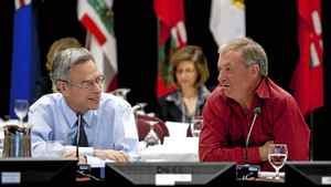 Ron Liepert, right, Alberta Minister of Energy, and Joe Oliver, Minister of Natural Resources, co-chair the energy ministers meetings in Kananaskis, Alta., Tuesday, July 19, 2011.