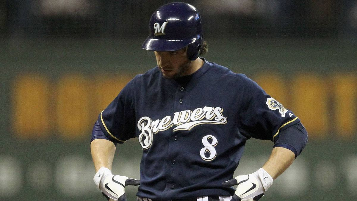 Ryan Braun #8 of the Milwaukee Brewers reacts after he hit a grond rule double against the St. Louis Cardinals during Game Two of the National League Championship Series at Miller Park on October 10, 2011 in Milwaukee, Wisconsin.