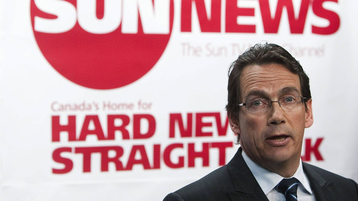 Quebecor Media Inc. CEO Pierre Karl Peladeau addresses a news conference in Toronto, Tuesday, June 15, 2010 to launch the proposed Sun TV News Channel.