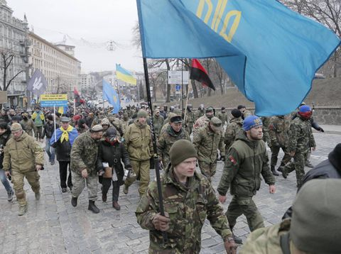 Kiev demonstrators attack Russian banks on second anniversary of 2014 protest's bloodiest day