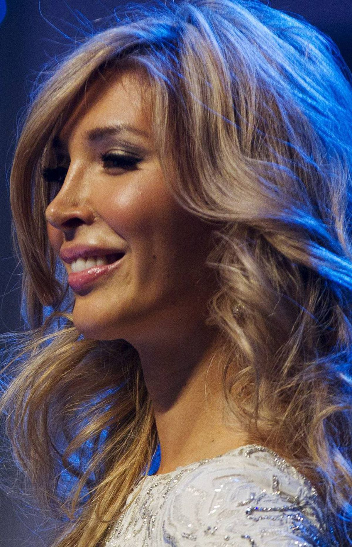 Jenna Talackova smiles at the crowd during the Miss Universe Canada competition in Toronto on May 17, 2012.