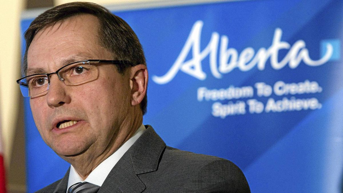 Alberta Premier Ed Stelmach announces the outcome of Alberta's conventional oil and gas competitive review at a news conference in Calgary, Thursday, March 11, 2010. The government announced it is sharply reducing royalties paid on conventional oil and natural gas that could potentially cost the government hundreds of millions of dollars in lost revenue.