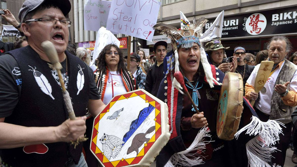 Protesters voice their displeasure with the proposed Northern Gateway pipeline.