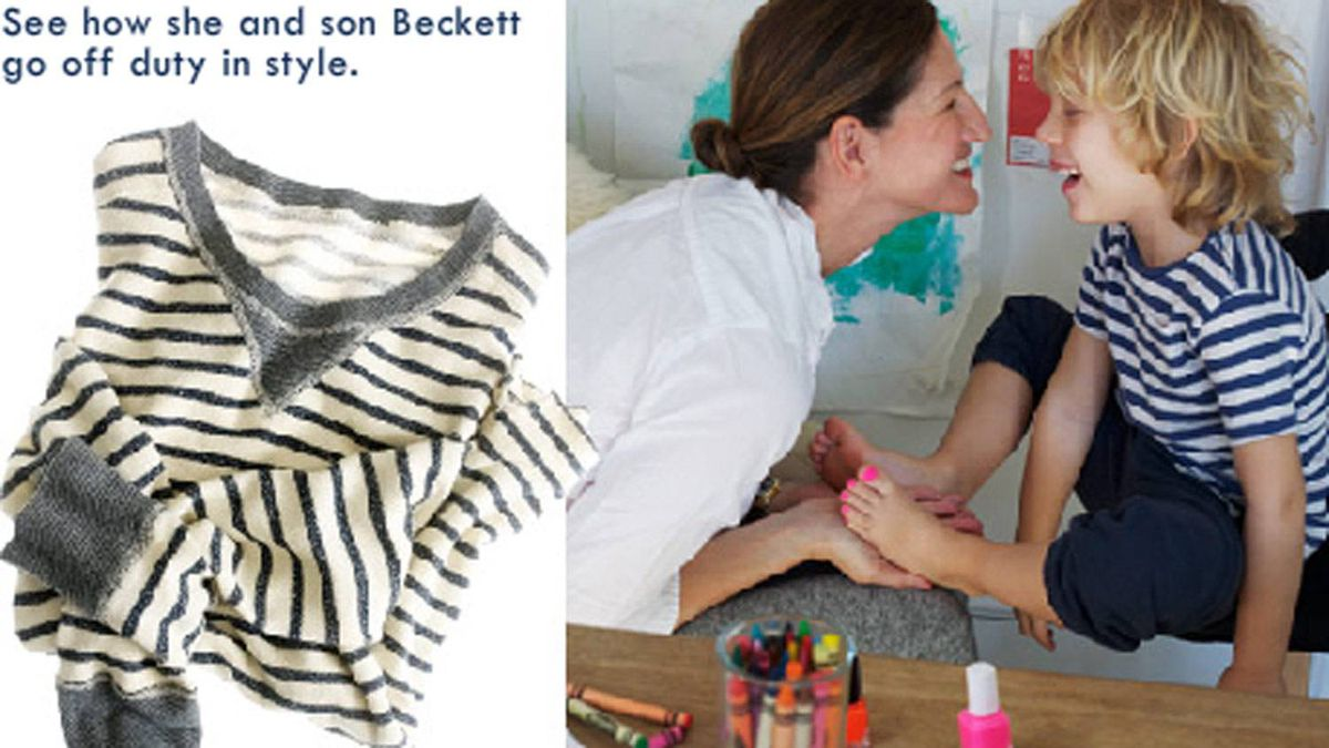 This picture from jcrew.com shows the company's creative director, Jenna Lyons, applying flamingo-tinted nail polish to her five-year-old son's toenails.