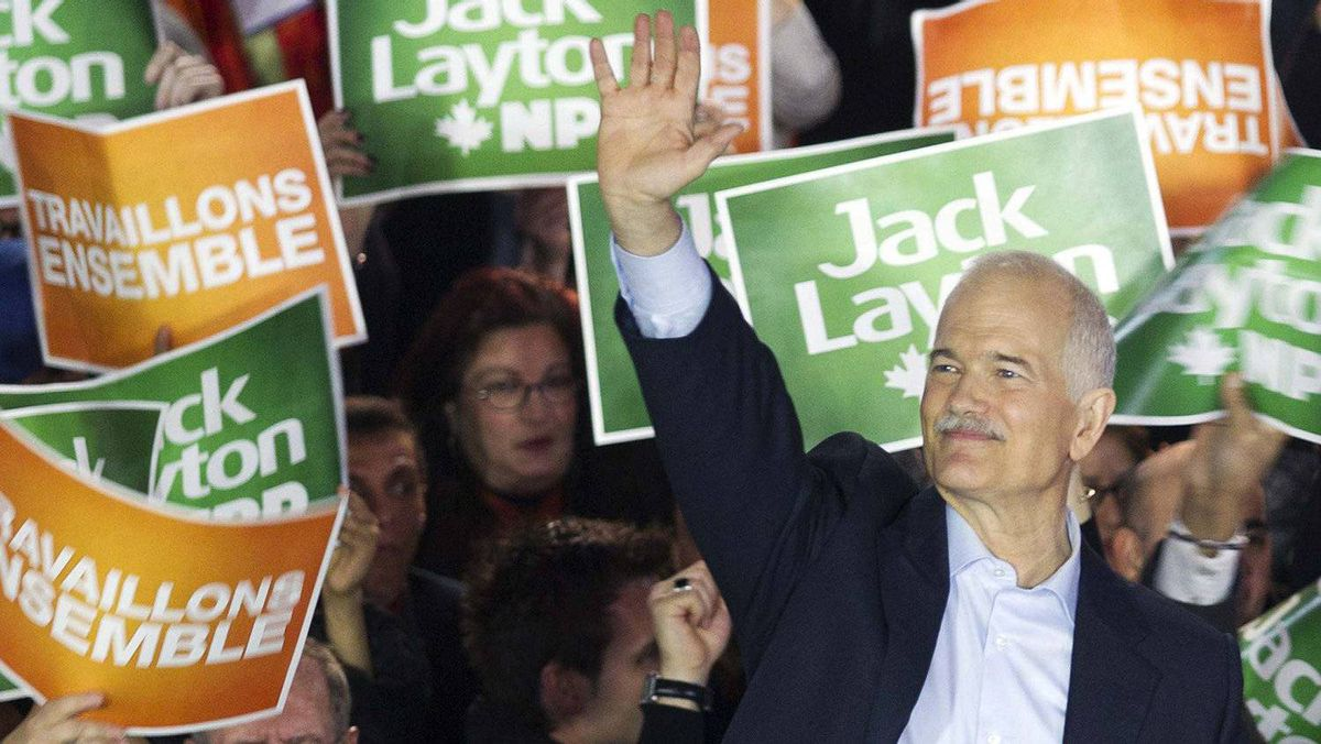 NDP Leader Jack Layton addresses supporters during a campaign stop in downtown Montreal April 23, 2011.