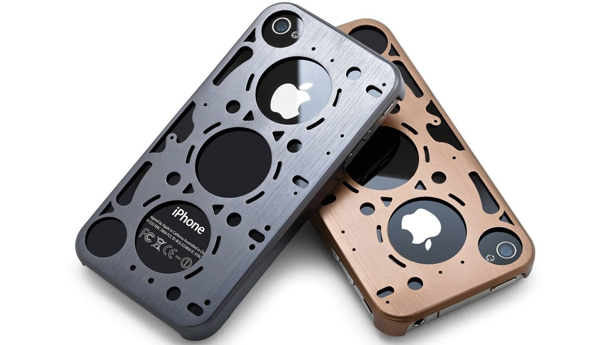 id America's Gasket iPhone case Inspired by the head gasket of a really fast car, this is the case you get for your favourite gearhead. The brushed aluminum holder is available in colours like vintage gold and rally blue, and has a suede inner lining so it doesn't scratch that precious iPhone 4S. ($29.95; id-case.com)
