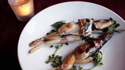 The mermen dish, half frog, half fish, at the Atlantic restaurant in Toronto.