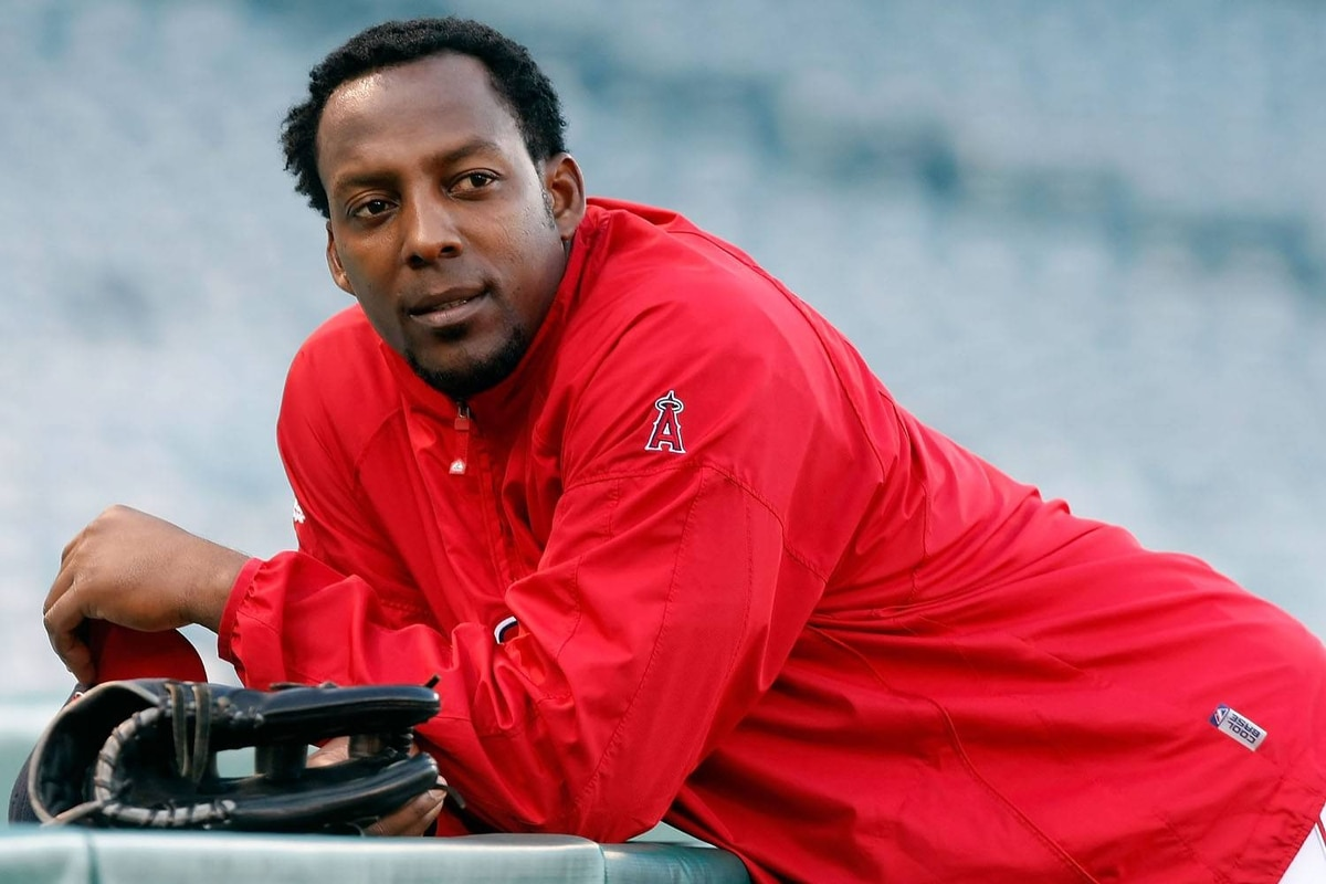 Vladimir Guerrero of the Los Angeles Angels of Anaheim looks on during an off-day workout part of the ALCS on Sunday.