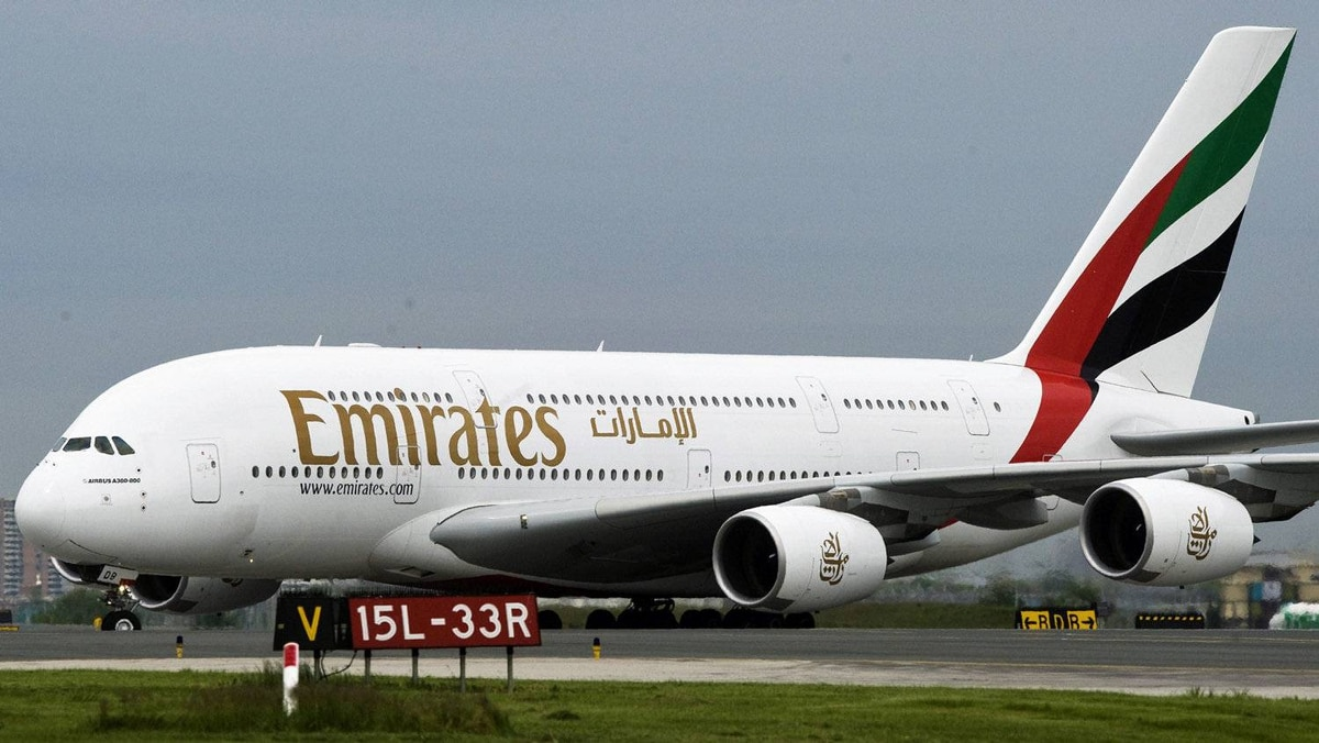 An Emirates aircraft lands at Pearson airport in Toronto on June 1, 2009.