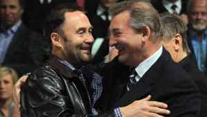Hall of Fame inductee Ed Belfour embraces Vladislav Tretiak during a ceremony prior to the game between the Toronto Maple Leafs and the Ottawa Senators at the Air Canada Centre on November 12, 2011 in Toronto, Ontario, Canada. (Photo by Bruce Bennett/Getty Images)