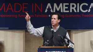Republican presidential candidate, former Pennsylvania Sen. Rick Santorum speaks during a rally, Monday, Feb. 20, 2012, in Muskegon, Mich. (