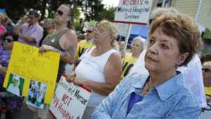 Protesters from across the Niagara Region held a rally outside the Greater Niagara General Hospital in Niagara Falls on Wednesday, July 6, 2011 to voice their displeasure with the way the hospitals are being run.