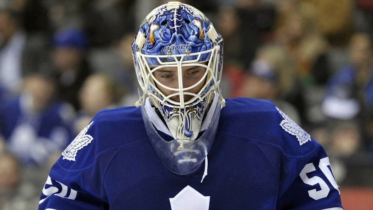 Toronto Maple Leafs goalie Jonas Gustavsson skates back to his net after allowing a goal to the Carolina Hurricanes in Toronto, March 27, 2012.