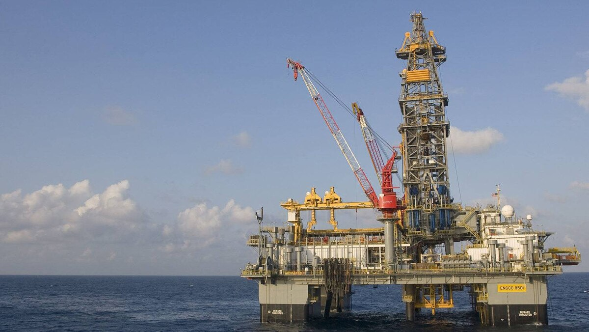 A daytime view of Nexen's ENSCO 8501 rig in the Knotty Head region of the Gulf of Mexico.
