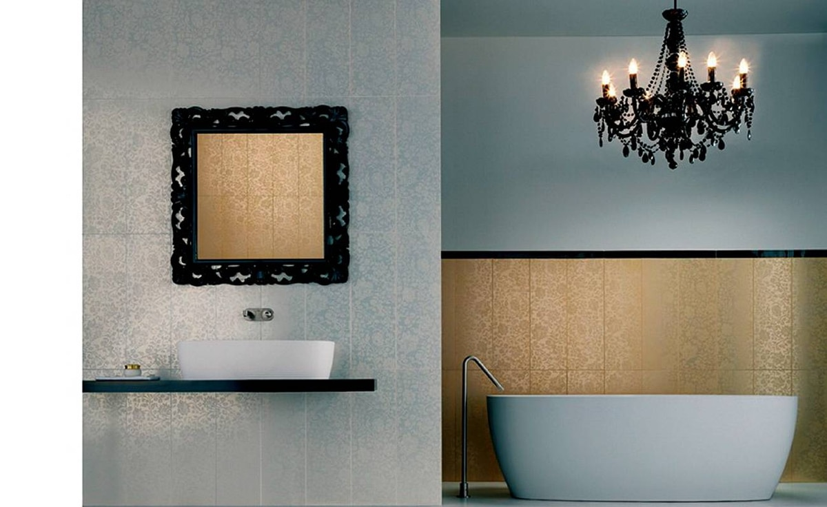 Complete with ornate chandelier, a full-on baroque look distinguishes a Savoia bathroom design.