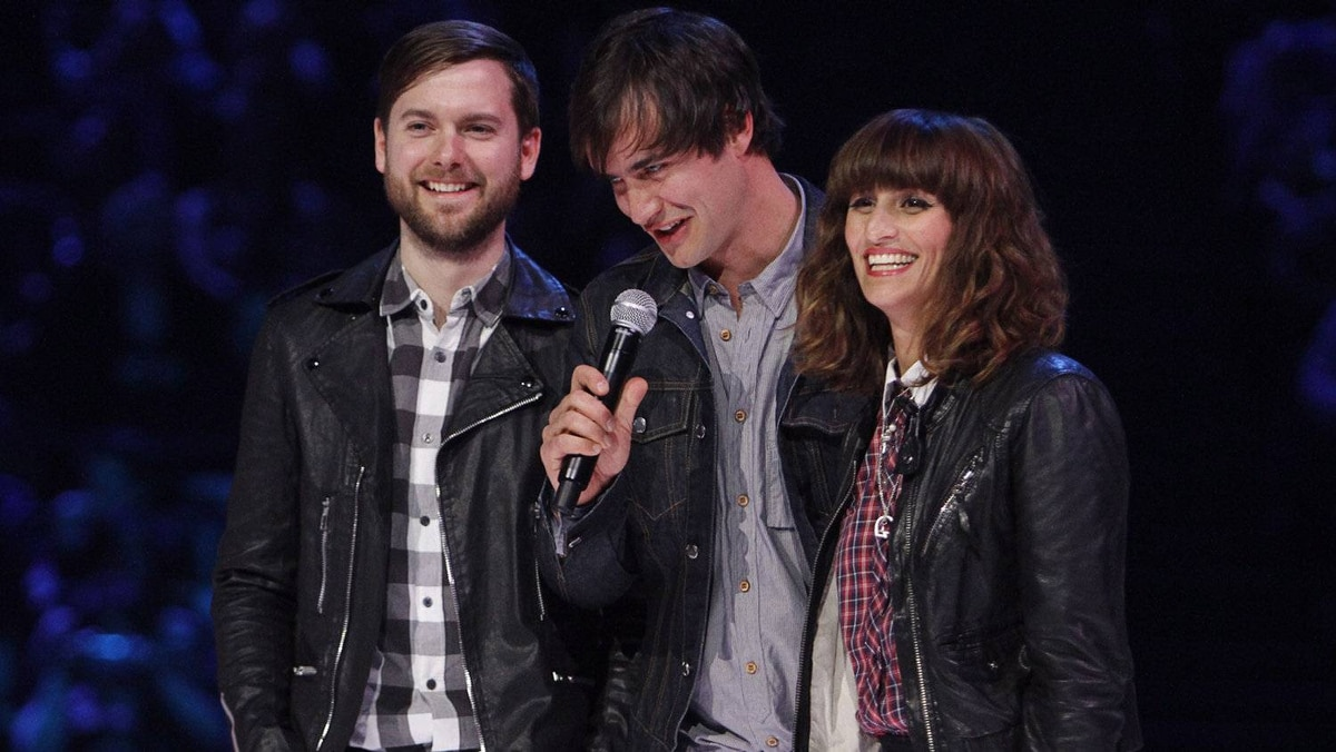Martin Solveig and Dragonette accept the Dance Recording of the Year for 'Hello' during the Juno Awards ceremony in Ottawa, Sunday April 1, 2012.