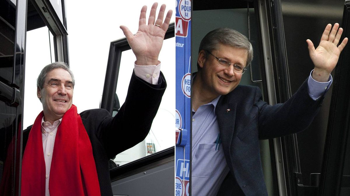 In this combination photo, Liberal leader Michael Ignatieff (L) waves as he gets on his bus following a campaign stop in Regina, Sask, Saturday, April 16, 2011. Conservative leader and Canada's Prime Minister Stephen Harper (R) waves as he boards his campaign bus in Richmond Hill, Ontario April 7, 2011.
