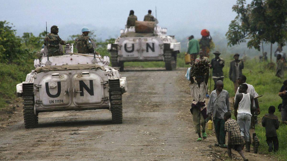 In this November, 2008, file photo, United Nations peacekeepers patrol near Rutshuru, about 80 kilometers north of Goma in eastern Congo.