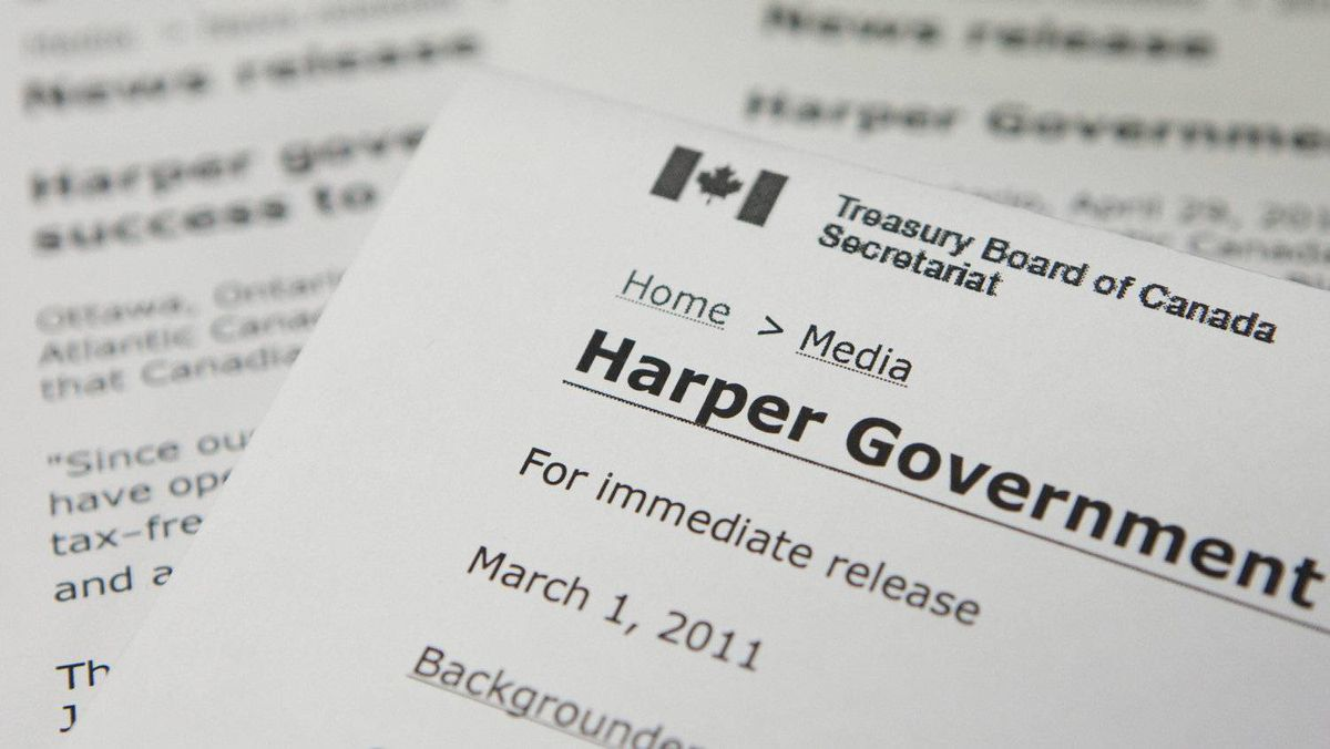 Press releases issued by federal government departments are shown in Ottawa on March 3, 2011.