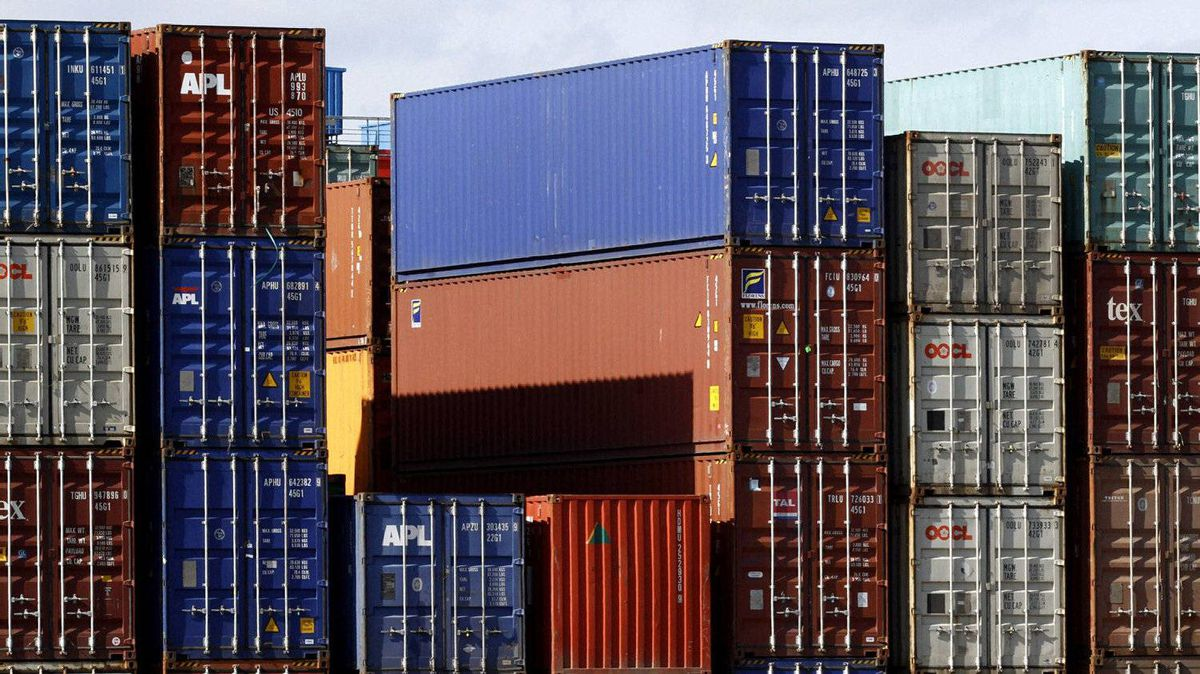 Containers wait in the harbour of Hamburg, Germany.