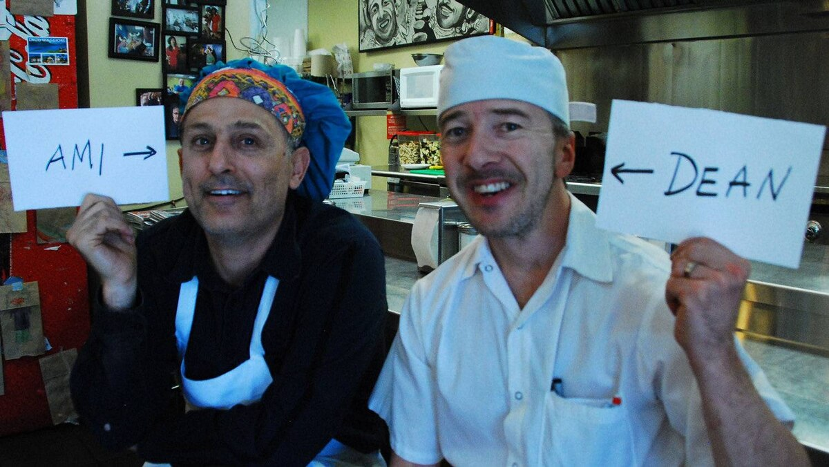 Ami Hassan and Dean Desrochers, owners of Falafel Place in Winnipeg.