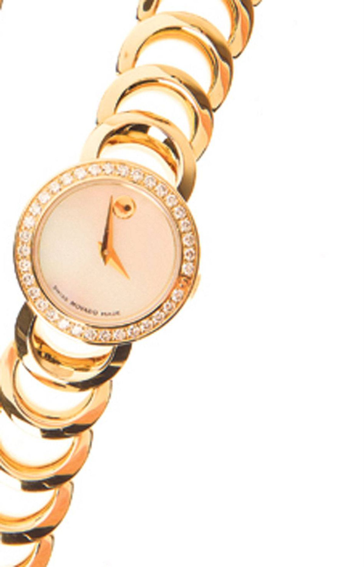 "Movado ""Rondi"" watches Gold with cream face and diamonds $2,495 through www.movado.com"
