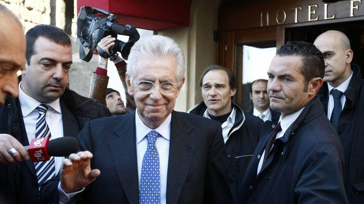Italy's new premier-designate economist Mario Monti leaves the hotel to start talks with parties' representatives in Rome, Monday, Nov. 14, 2011.