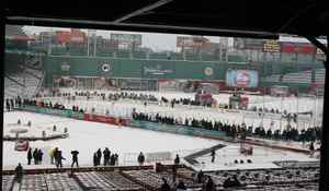 The Philadelphia Flyers practice for the Bridgestone NHL Winter Classic on December 31, 2009 at Fenway Park in Boston, Massachusetts. (Photo by Elsa/Getty Images)