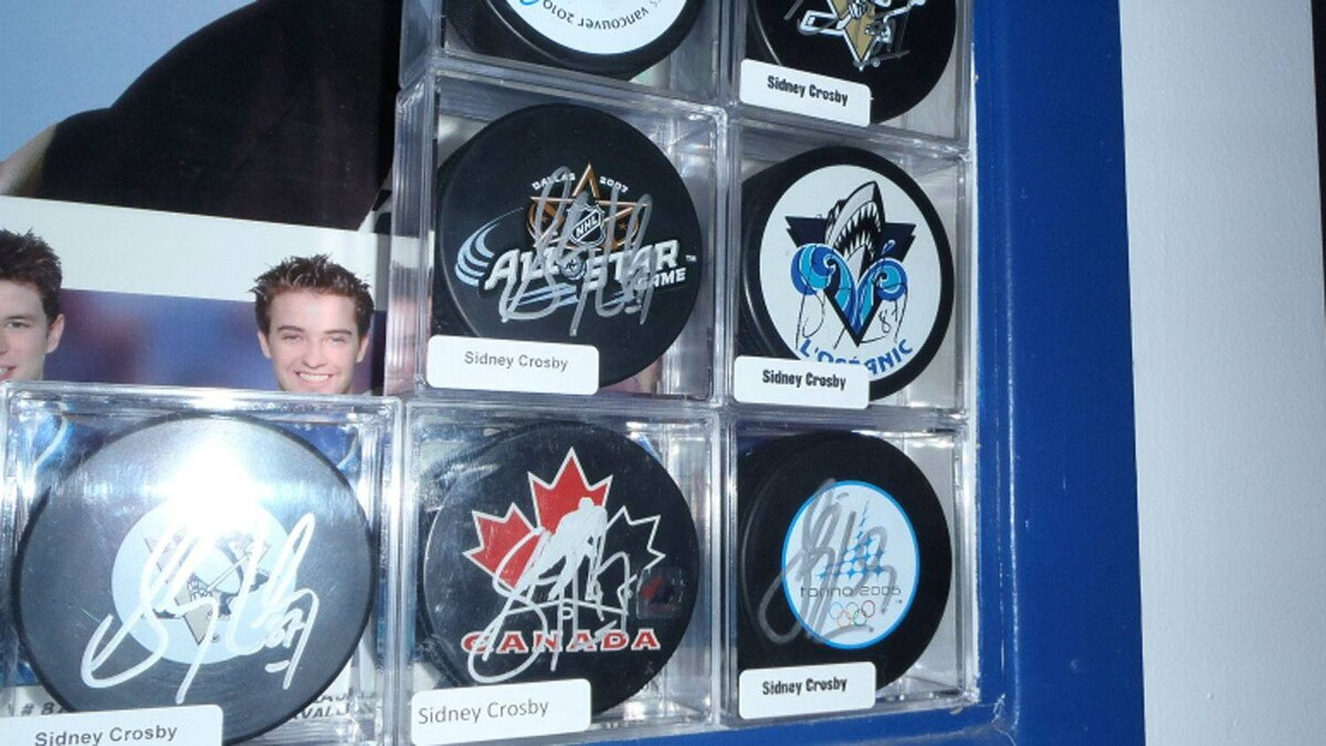 Autographed pucks from Sidney Crosby, including a favoured one that Ken LeBlanc asked the Pittsburgh Penguins captain to sign when he was just 16. He says the hockey player was so gracious and friendly that he became a lifetime fan and will likely never bring himself to part with that puck.