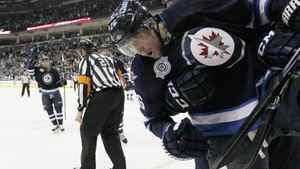 Winnipeg Jets' Blake Wheeler (26) celebrates his second goal over St. Louis Blues' during second period NHL action in Winnipeg on Saturday, February 25, 2012. The Blues won 3-2 in a shootout. THE CANADIAN PRESS/John Woods