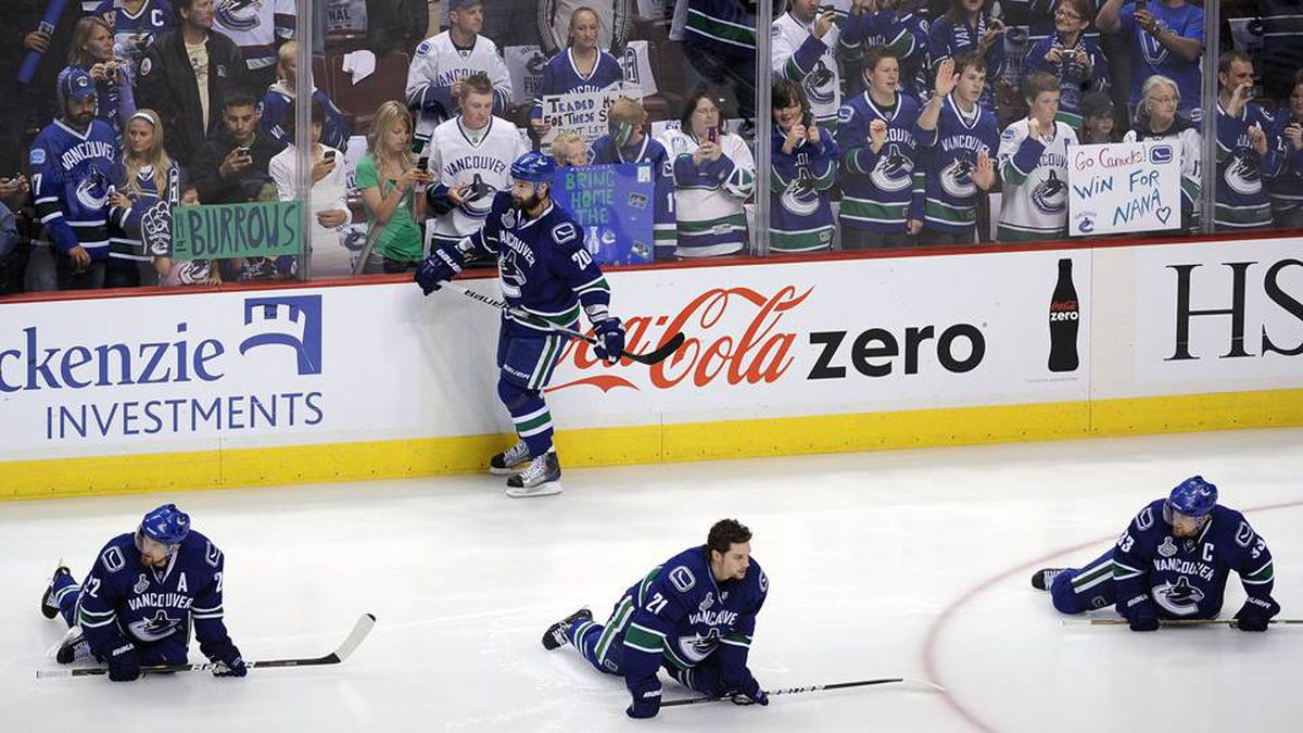 The Vancouver Canucks warm up prior to Game 5 of the 2011 NHL Stanley Cup final.