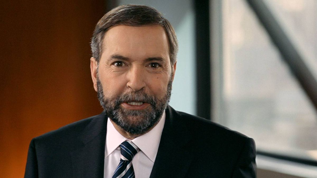 A scene from a new English-language television ad created by the federal New Democrats to introduce their new leader Thomas Mulcair to Canadians.