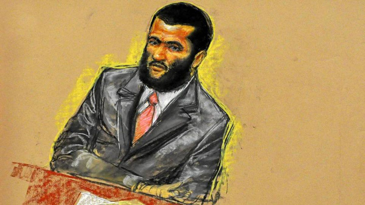 A courtroom sketch of Omar Khadr, shown attending jury selection on Aug. 10 during his military trial at Guantanamo Bay.