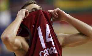 Canada Levon Kendall reacts after the end of their FIBA Basketball World Championship game against against Lithuania in Izmir August 29, 2010. REUTERS/Sergio Perez