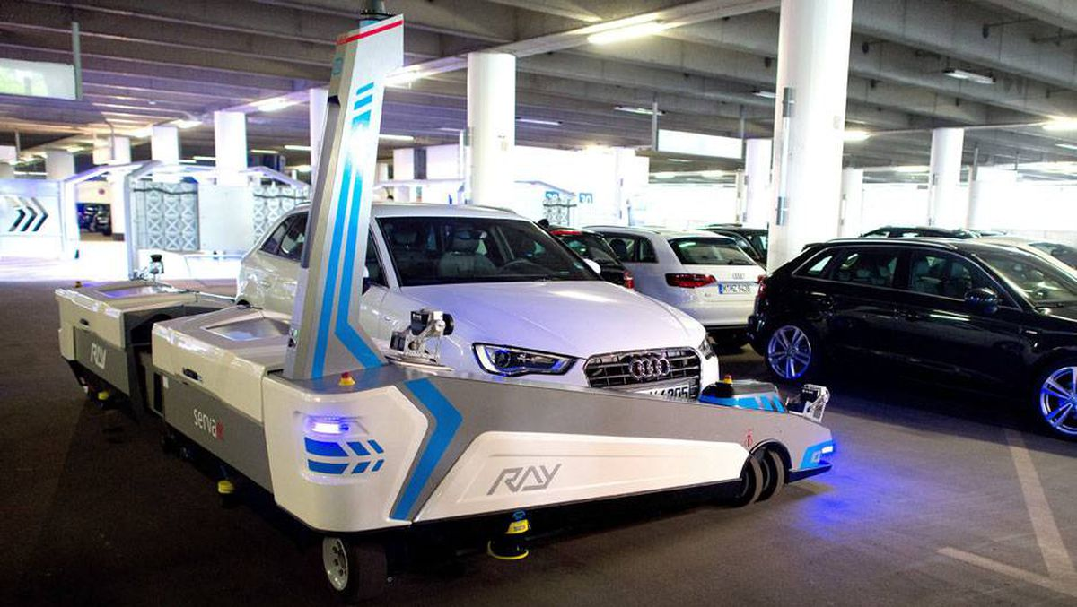 robot valet to park travellers cars at german airport. Black Bedroom Furniture Sets. Home Design Ideas