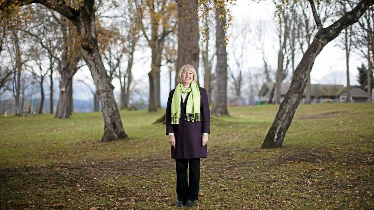 Adriane Carr, who won a Vancouver city council seat for the Green Party in Saturday's municipal election, poses for a portrait in Vancouver, British Columbia, on Nov. 20, 2011.