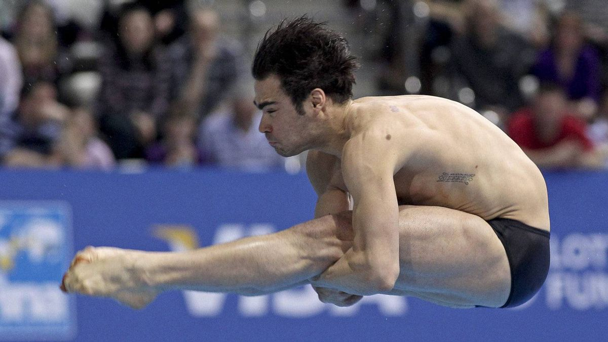 Alexandre Despatie of Laval, Que. took third place in men's 3 metre springboard at the FINA Visa Diving World Cup at Olympic Aquatic Centre in London, England, Wednesday, Feb. 22, 2012.