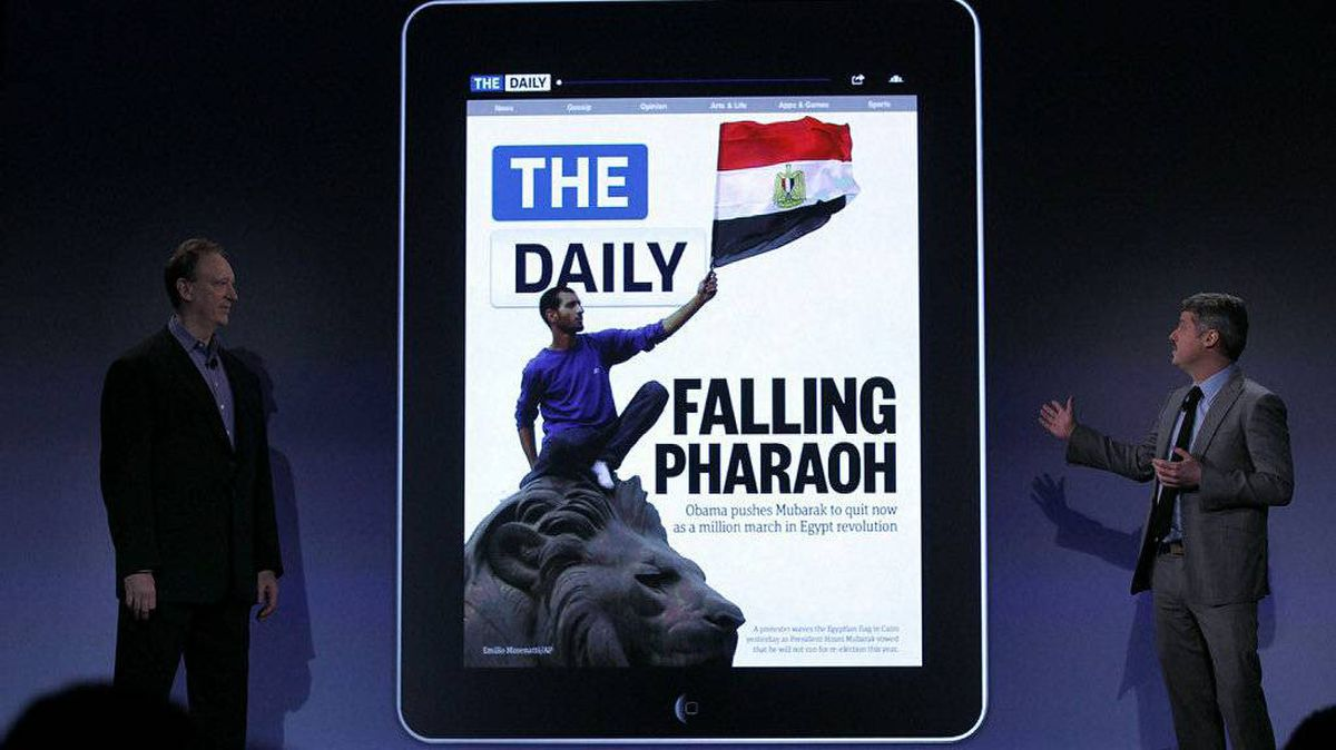 The new online newspaper for the Apple iPad called The Daily is launched by the editor Jesse Angelo (R) on February 2, 2011 at the Guggenheim Museum in New York City. The new media product is owned by News Corp. CEO Rupert Murdoch and will be sold for 14 cents a day.