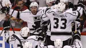 Los Angeles Kings players celebrate after winning the Western Conference finals against the Phoenix Coyotes May 23, 2012.