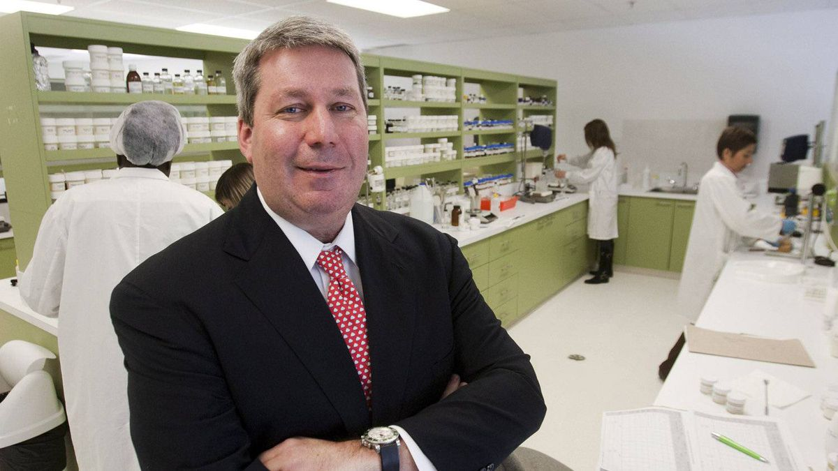 Valeant CEO Michael Pearson is seen in one of the company's laboratories.