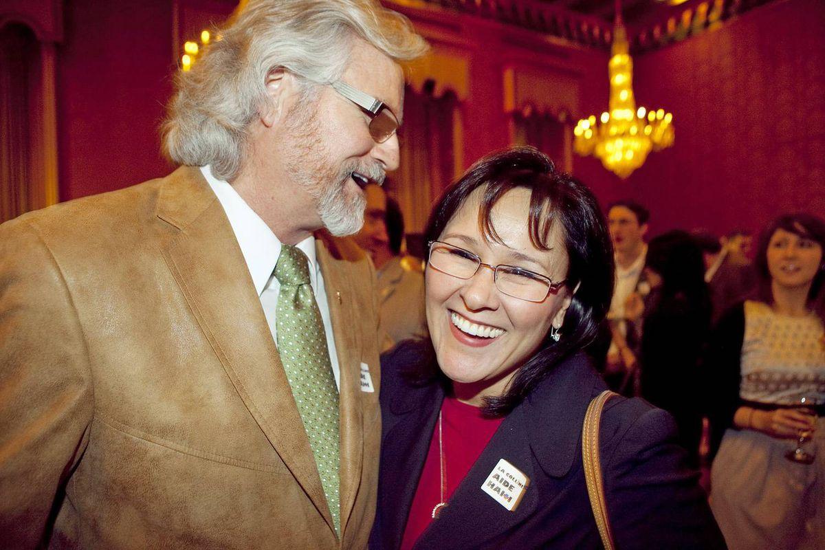 NDP MP John Rafferty (Thunder Bay-Rainy River) shares a laugh with Health Minister Leona Aglukkaq.
