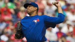 Toronto Blue Jays starter Ricky Romero pitches against the Philadelphia Phillies, March 31, 2012.