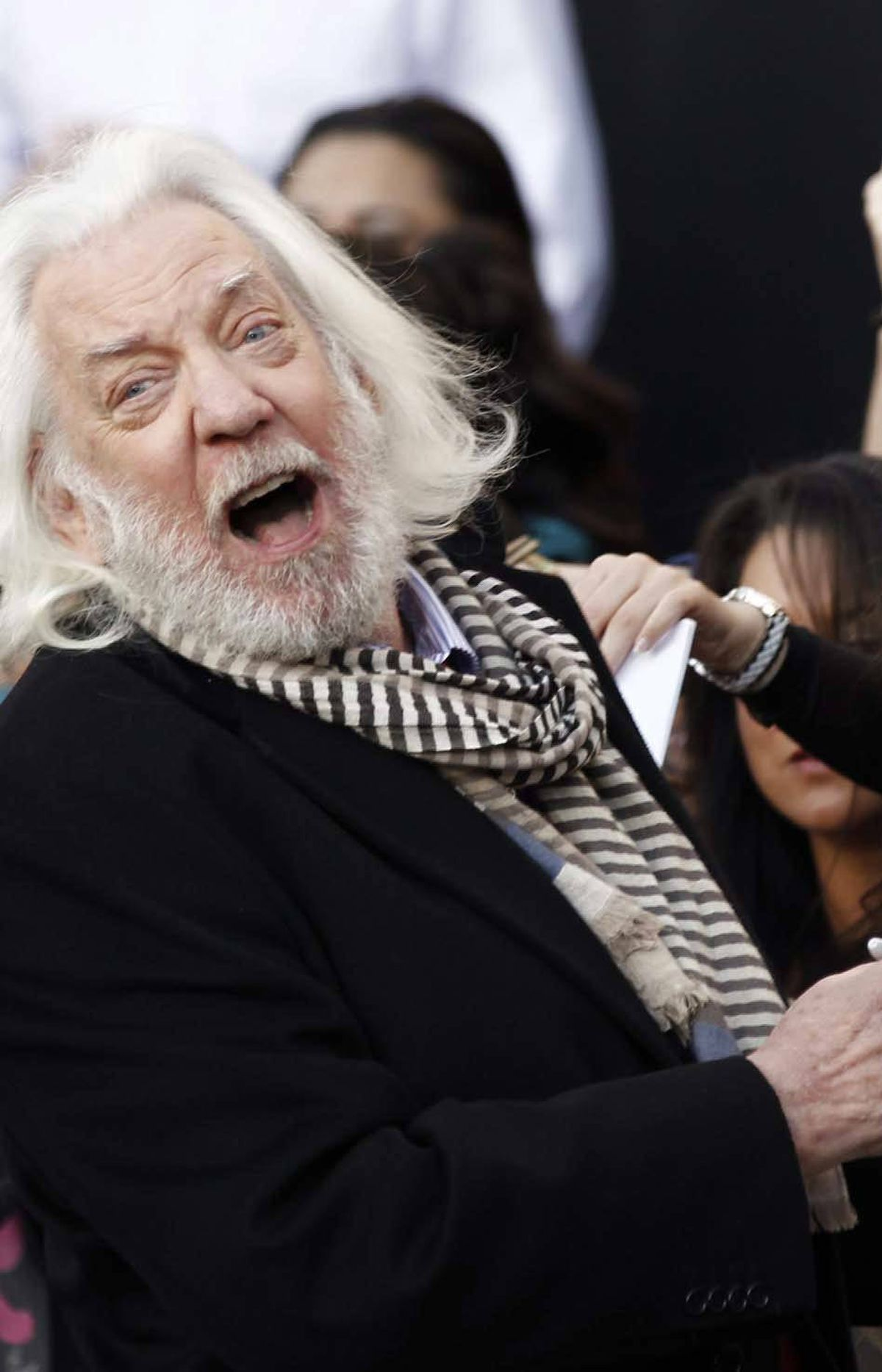 """No, seriously, it wasn't that funny, Donald Sutherland at the world premiere of """"The Hunger Games"""" in Los Angeles on Monday. But thank you for providing a seque into a new subject."""