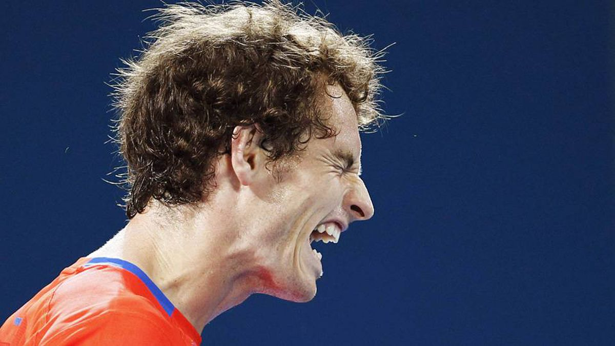 Andy Murray of Britain reacts during his match against Mikhail Kukushkin of Kazakhstan at the Brisbane International tennis tournament.