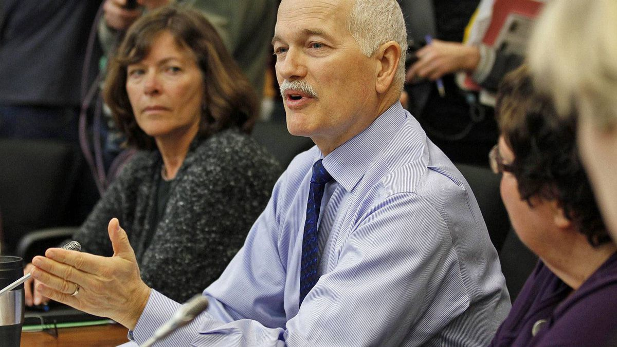 New Democratic Party Leader Jack Layton speaks during a caucus meeting in Ottawa on Jan. 27, 2011.