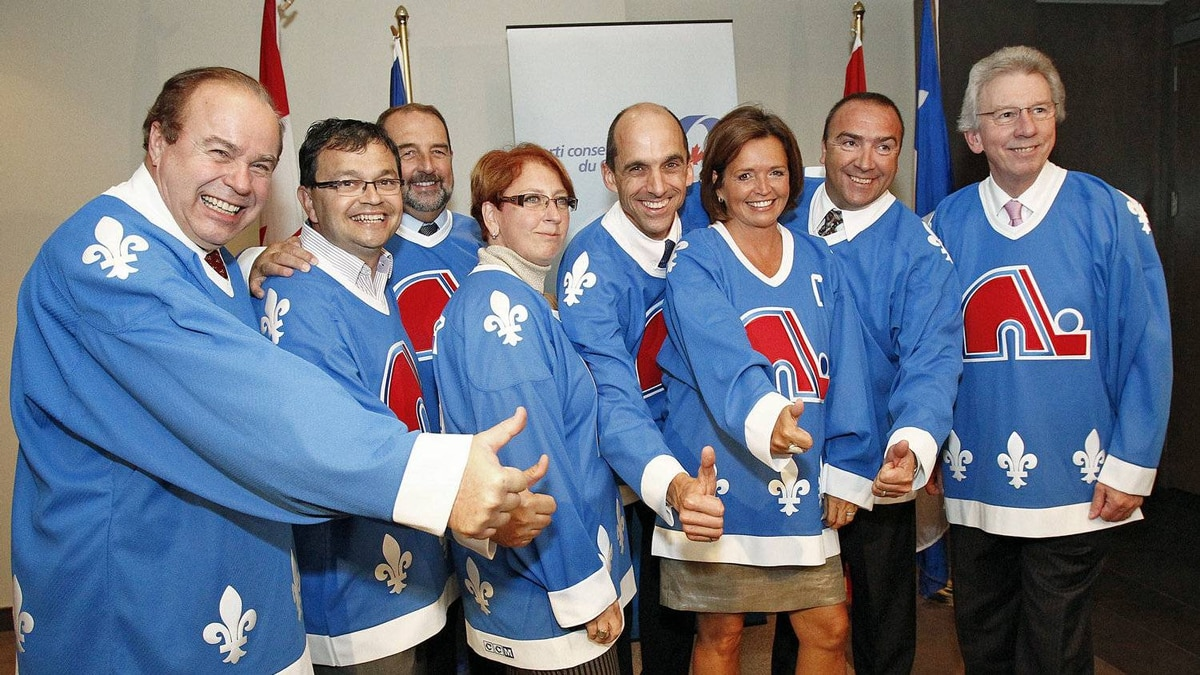 Quebec Conservatives don Nordiques jerseys in September, 2010.