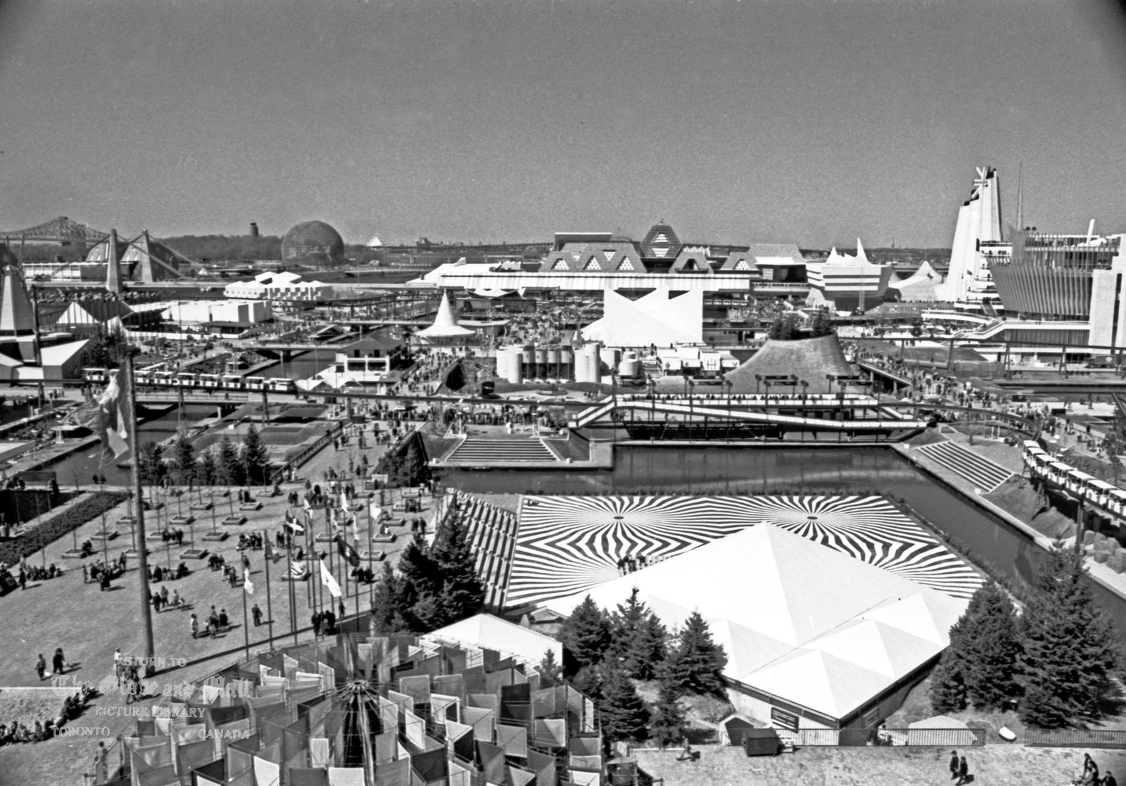 MONTREAL -- EXPO 67 -- View of the fairgrounds prior to official opening, April 24,1967. Credit: John McNeill / The Globe and Mail Negative #67114-20