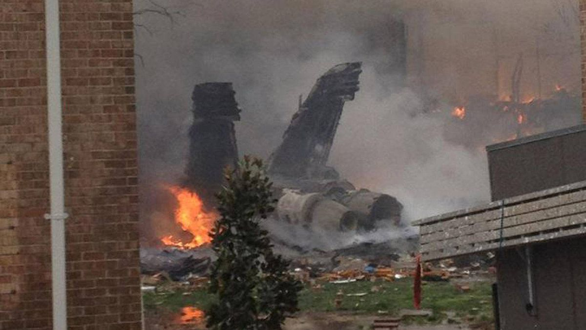 An F-18 military jet crashed into a residential area of Virginia Beach, Va., on April 6, 2012.